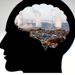 cartoon of human head filledwith smokestacks and plastic pollution